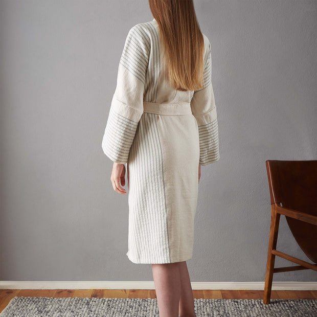 Kadan bathrobe, cream & grey green, 50% linen & 50% cotton | URBANARA bathrobes