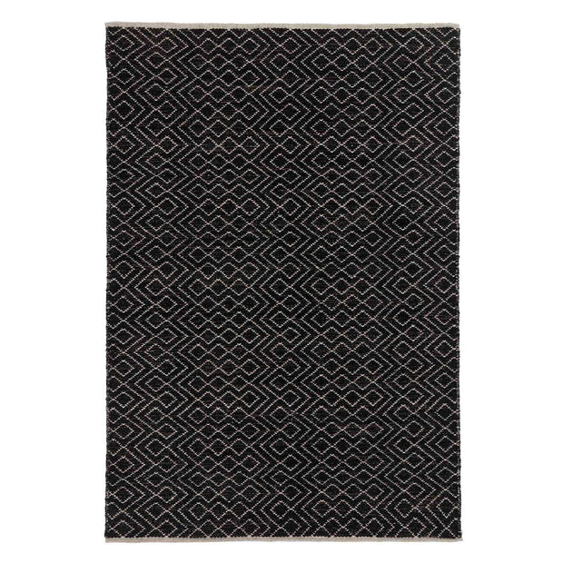 Amini rug, black & off-white, 100% new wool |High quality homewares