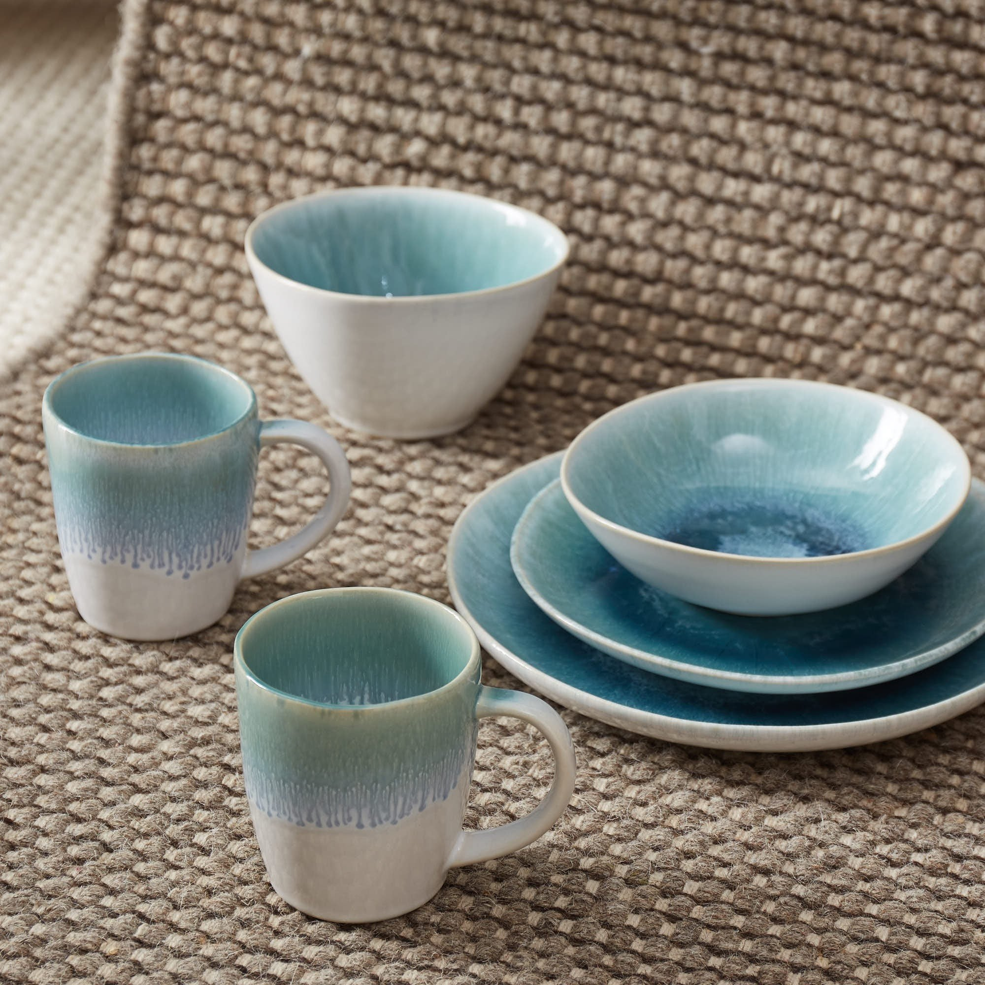 Caima Dinner Plate Set in turquoise & blue | Home & Living inspiration | URBANARA