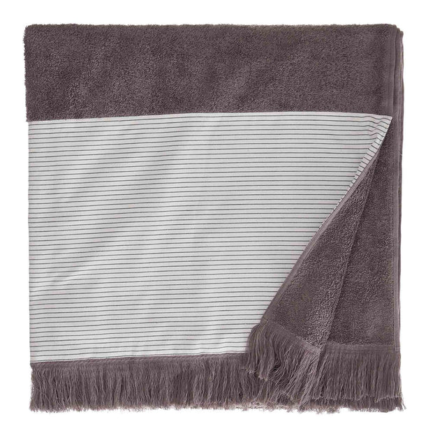 Luni beach towel, grey, 100% cotton | URBANARA beach towels