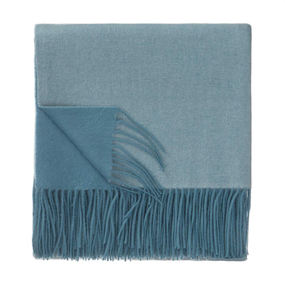Sontra blanket, green grey & light grey green, 10% cashmere wool & 90% wool
