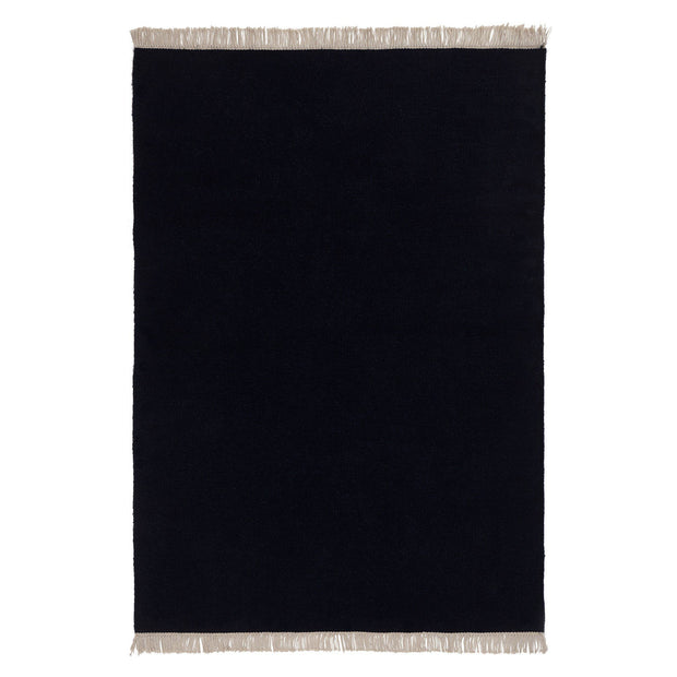 Manu rug, dark blue, 100% wool & 100% cotton |High quality homewares