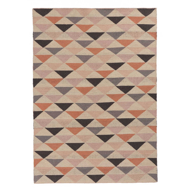 Barli rug, light pink & cognac & silver grey, 100% new wool |High quality homewares