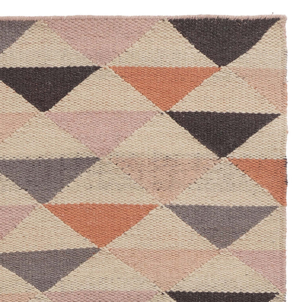 Barli rug, light pink & cognac & silver grey, 100% new wool | URBANARA wool rugs