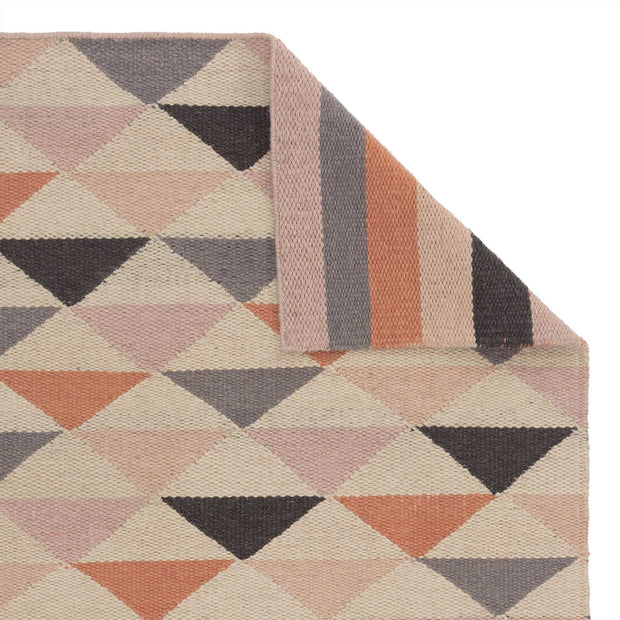 Barli rug, light pink & cognac & silver grey, 100% new wool
