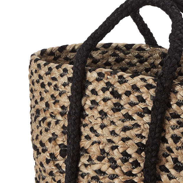 Dunagiri storage, natural & black, 100% jute | URBANARA storage baskets