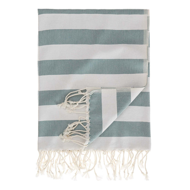 Filiz hammam towel, green grey & white, 100% cotton