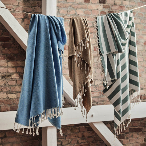 Filiz hammam towel, green grey & white, 100% cotton |High quality homewares
