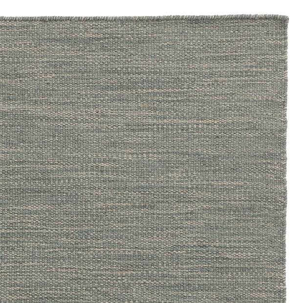 Gravlev rug, green grey & light green grey & natural white, 50% new wool & 50% cotton