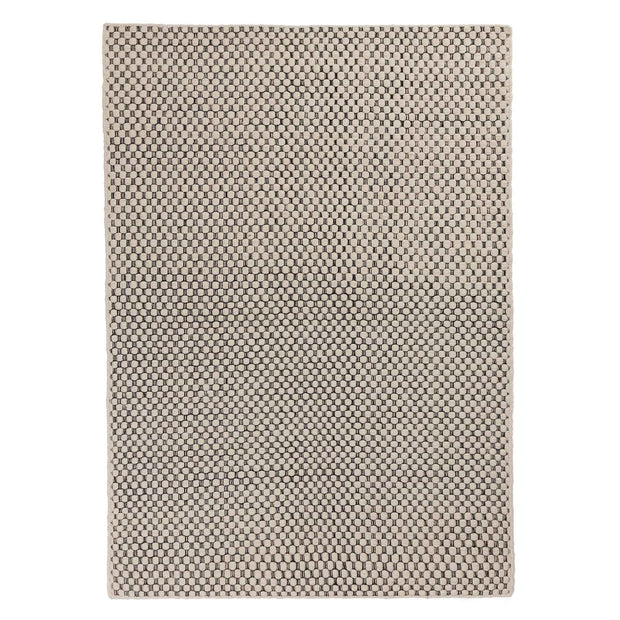 Kalanka rug, natural white & black, 90% new wool & 10% cotton |High quality homewares
