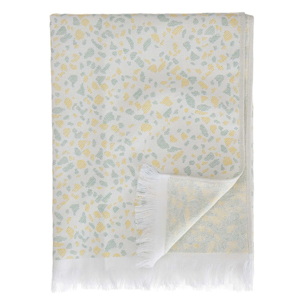 Verin beach towel, off-white & green grey & yellow, 100% cotton | URBANARA beach towels