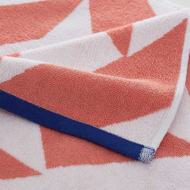 Arua beach towel, papaya & white & ultramarine, 100% cotton |High quality homewares