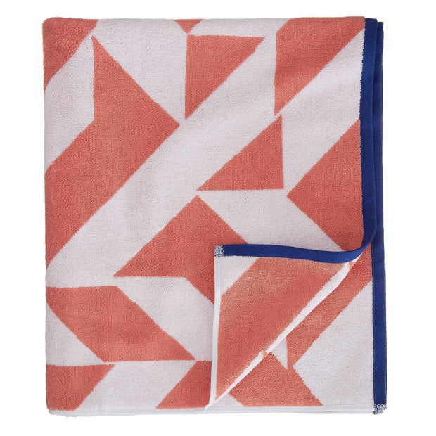 Arua beach towel, papaya & white & ultramarine, 100% cotton | URBANARA beach towels