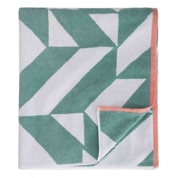 Arua beach towel, aqua & white & papaya, 100% cotton | URBANARA beach towels