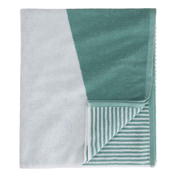 Lalin beach towel, aqua & white, 100% cotton | URBANARA beach towels