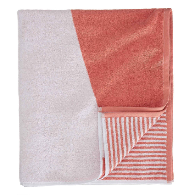 Lalin beach towel, papaya & white, 100% cotton | URBANARA beach towels