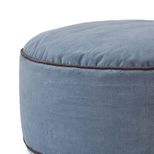 Deomali pouf, blue grey & dark grey, 100% cotton |High quality homewares