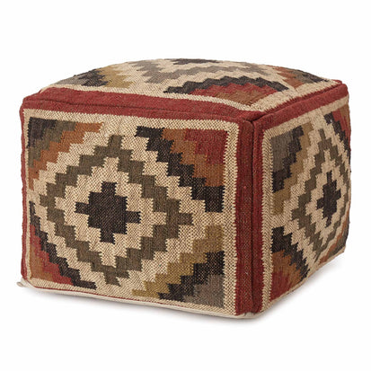 Gandaki pouf, rust orange & sand & olive green, 90% jute & 10% cotton