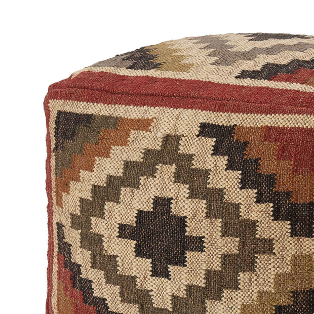 Gandaki pouf, rust orange & sand & olive green, 90% jute & 10% cotton |High quality homewares