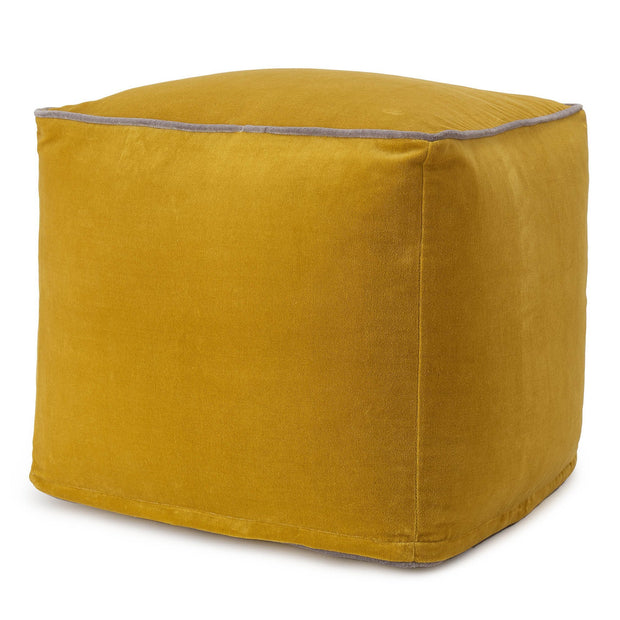 Godavari pouf, bright mustard & grey, 100% cotton
