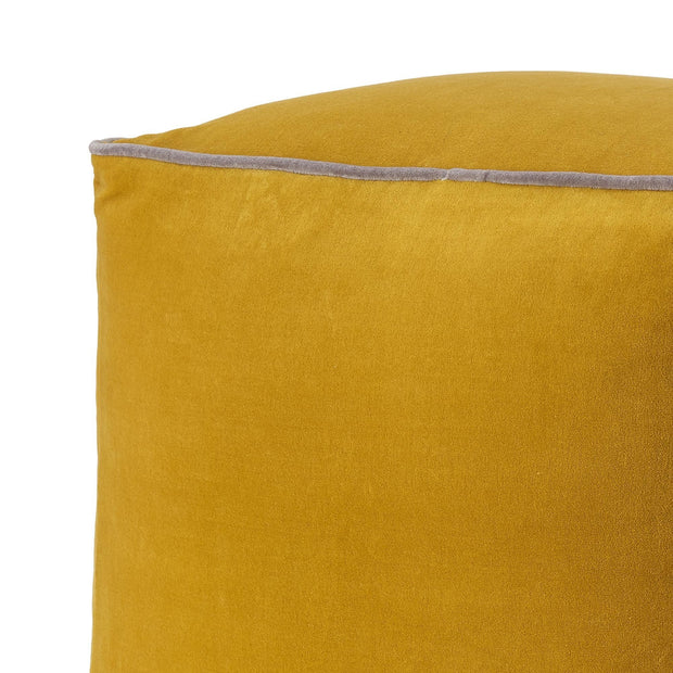 Godavari pouf, bright mustard & grey, 100% cotton |High quality homewares