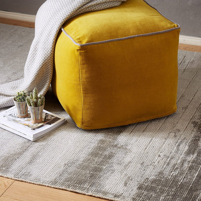 Bright mustard & Grey Godavari Pouf | Home & Living inspiration | URBANARA