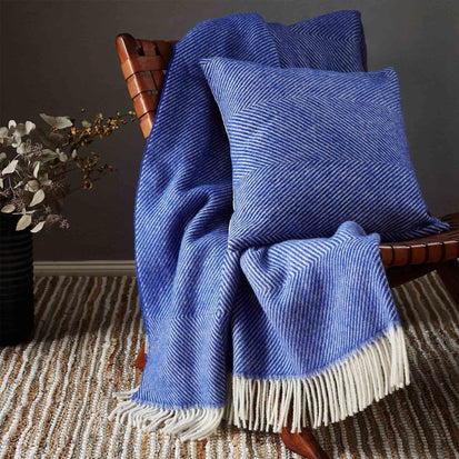 Gotland Wool Blanket in ultramarine & cream | Home & Living inspiration | URBANARA
