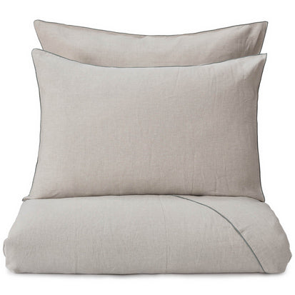 Alvalade pillowcase, natural & green grey, 100% linen