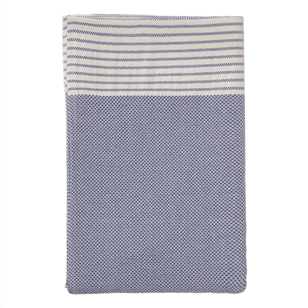 Kadan bedspread, ultramarine & white, 50% linen & 50% cotton