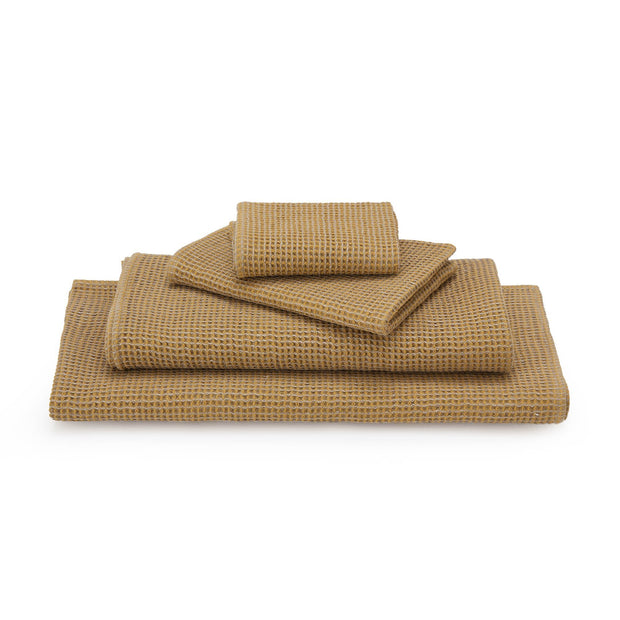 Kotra hand towel, bright mustard & natural, 50% linen & 50% cotton