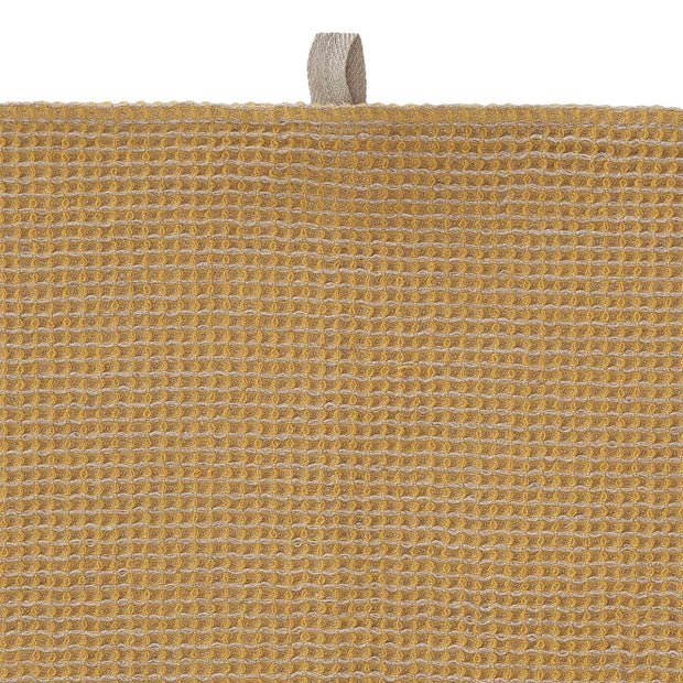 Kotra hand towel, bright mustard & natural, 50% linen & 50% cotton |High quality homewares