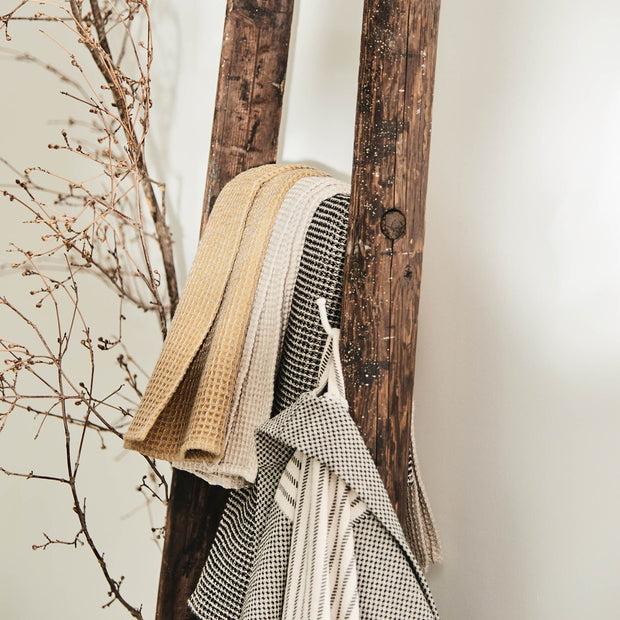 Kotra hand towel, bright mustard & natural, 50% linen & 50% cotton | URBANARA linen towels
