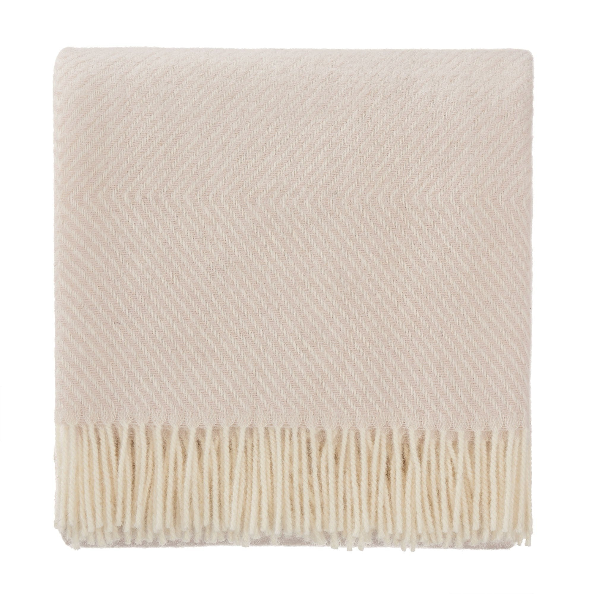 Gotland blanket, powder pink & cream, 100% new wool