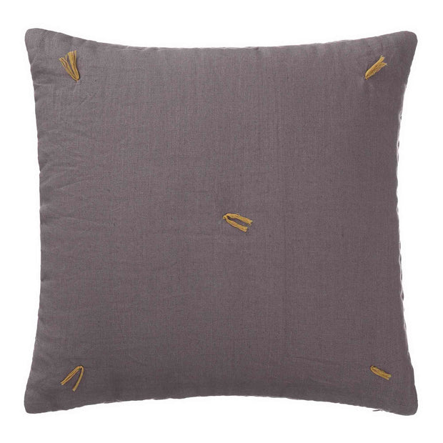 Gaya cushion cover, grey & bright mustard, 100% linen & 100% cotton & 100% polyester