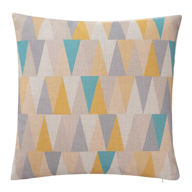 Havant cushion cover, yellow & grey & turquoise, 100% linen