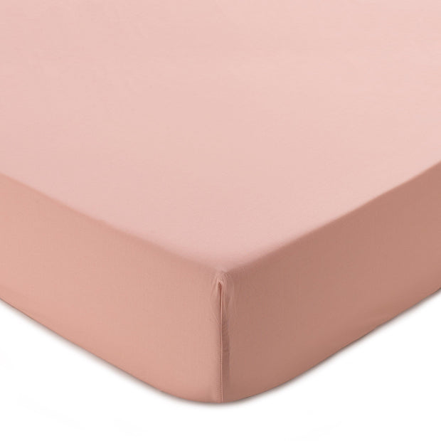 Perpignan fitted sheet, light dusty pink, 100% combed cotton