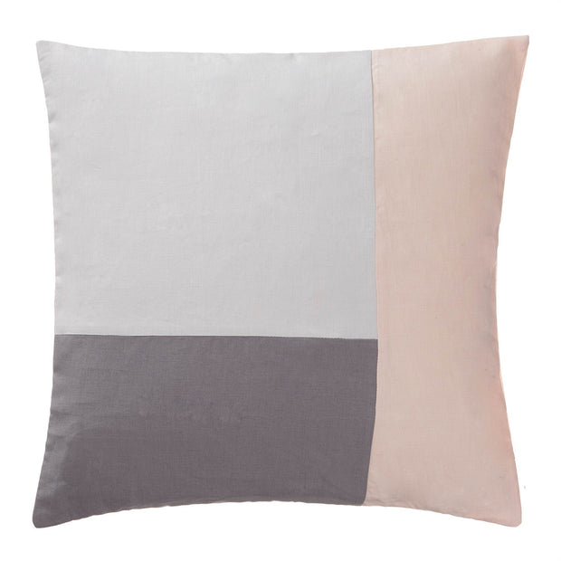 Cataya cushion cover, light grey & charcoal & light pink, 100% linen