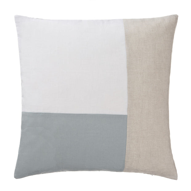 Cataya cushion cover, white & light green grey & natural, 100% linen