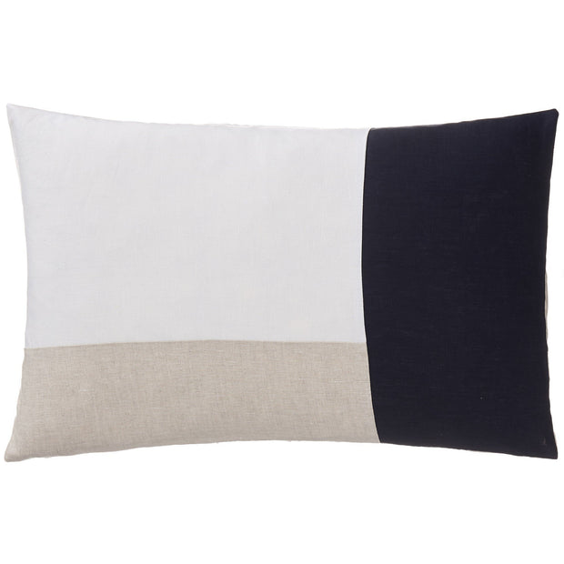 Cataya cushion cover, white & natural & dark blue, 100% linen