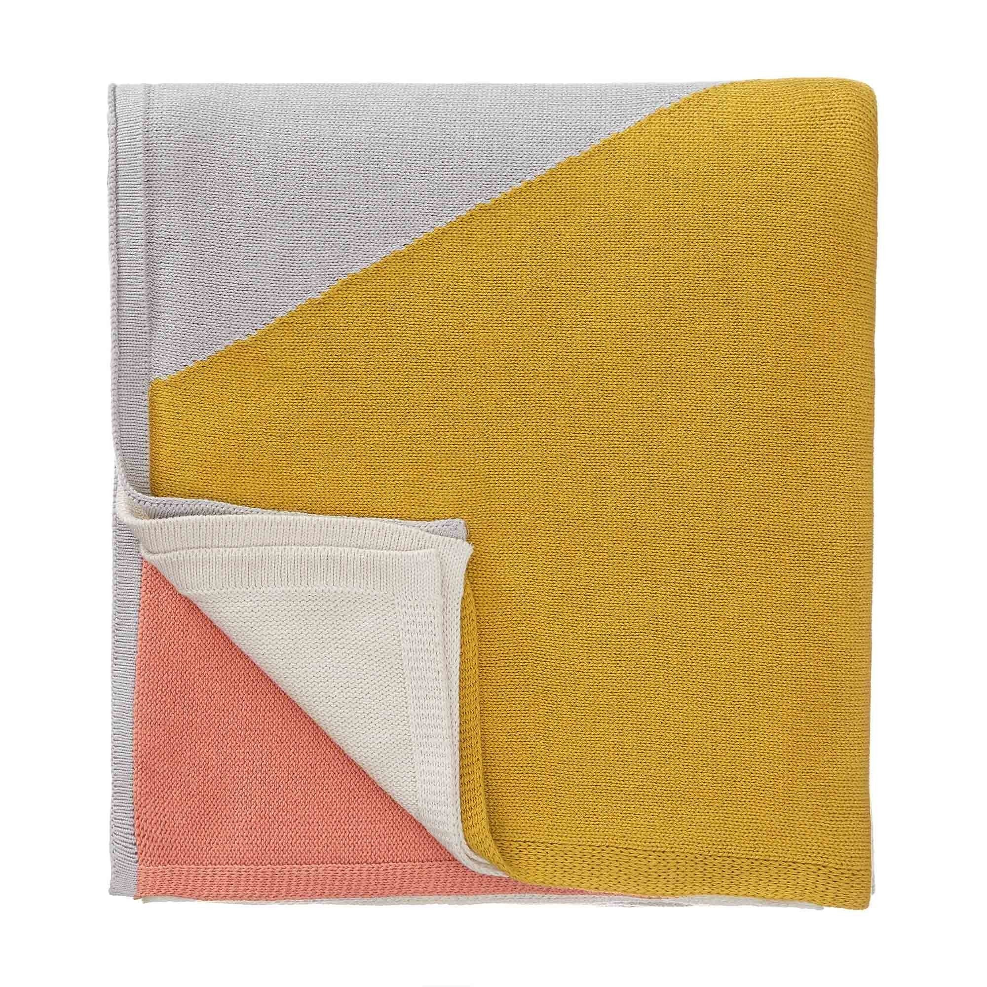 Kabral Cotton Blanket [Bright mustard/Silver grey/Light papaya]
