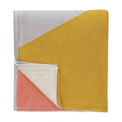 Kabral blanket, bright mustard & silver grey & light papaya, 100% cotton