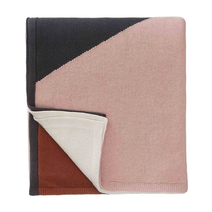 Kabral blanket, light pink & charcoal & cognac, 100% cotton