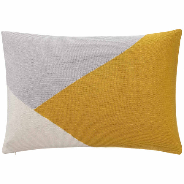 Kabral cushion cover, bright mustard & silver grey & natural white, 100% cotton
