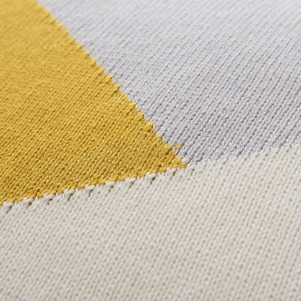 Kabral cushion cover, bright mustard & silver grey & natural white, 100% cotton | URBANARA cushion covers