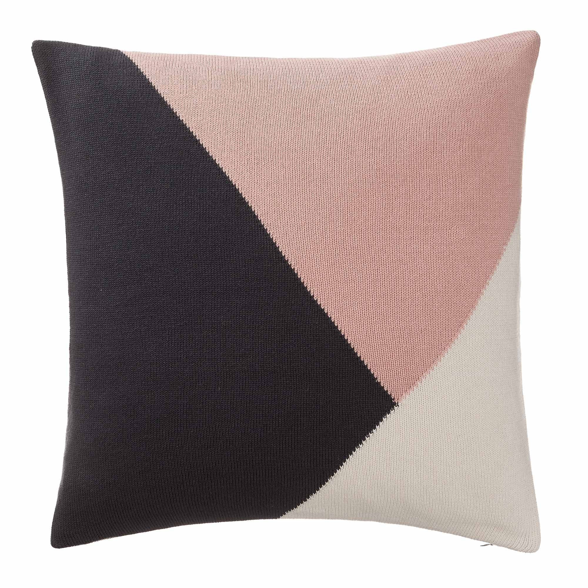 Kabral cushion cover, charcoal & light pink & natural white, 100% cotton