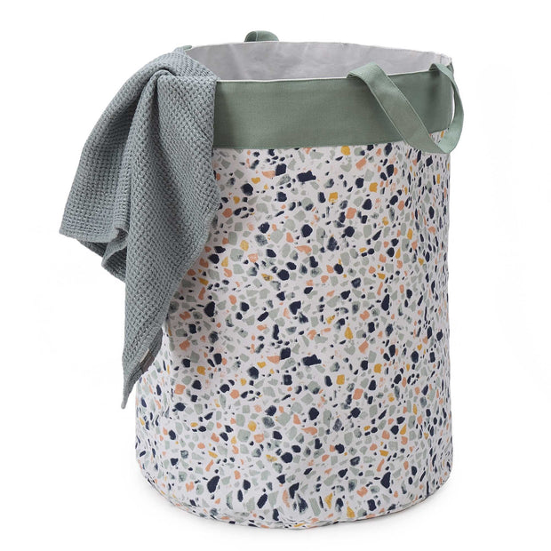 Malpe laundry basket, grey green & mustard, 100% cotton & 100% polyester