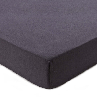 Mafalda fitted sheet, dark grey, 100% linen