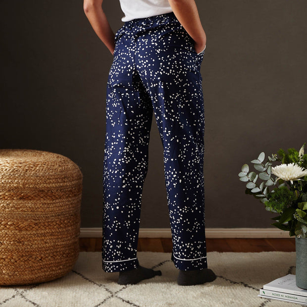 Cova pyjama, dark blue & white, 100% cotton | URBANARA nightwear