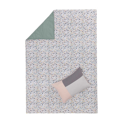 Visso picnic blanket, bright mustard & light pink & light ocean green & light grey green, 100% cotton & 100% polyester