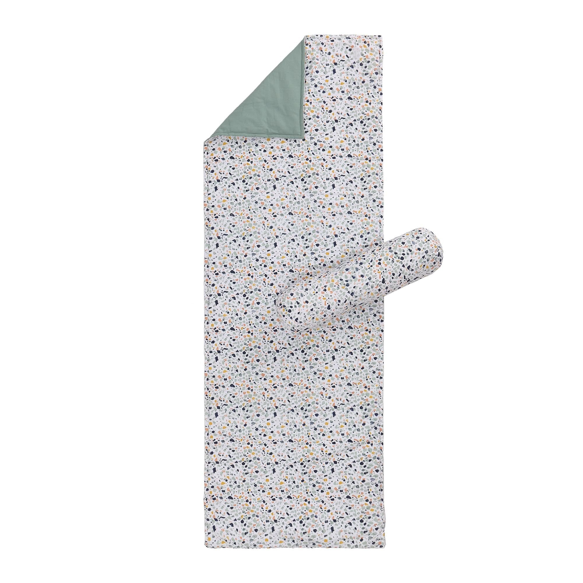 Visso beach mat, bright mustard & light pink & light ocean green & light grey green, 100% cotton & 100% polyester
